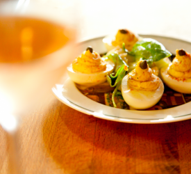 Deviled Eggs with Wine Glass