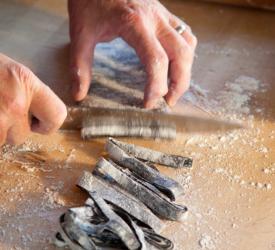 Cutting Fresh Squid Ink Pasta